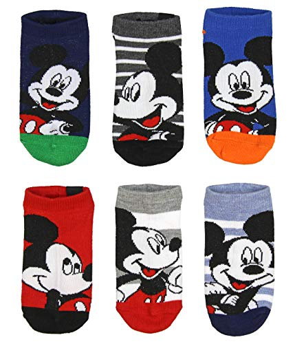 Disney Mickey Mouse Little Boys' Ankle 6 Pairs Classic Children's No Show Socks 6-Pack (4-6)