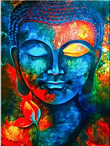 Malen nach Zahlen Erwachsene Buddha-Statue DIY Ölgemälde Faltenfreie Leinwand mit Pinseln Acrylpigment 40 × 50 cm (Rahmenlos)