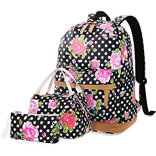 FEWOFJ Rucksäcke Schule Casual Canvas Schulrucksack + Kühltasche + Federmäppchen für Mädchen/Damen (Dot Flower)