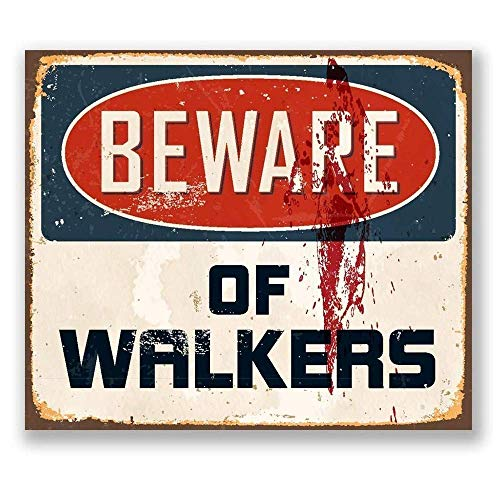 QQWDin Shed beware Warning Walkers The Walking Tin Sign Vintage Metal Pub Club Cafe Bar Home Wall Art Decoration Poster Retro 20 X 30 cm