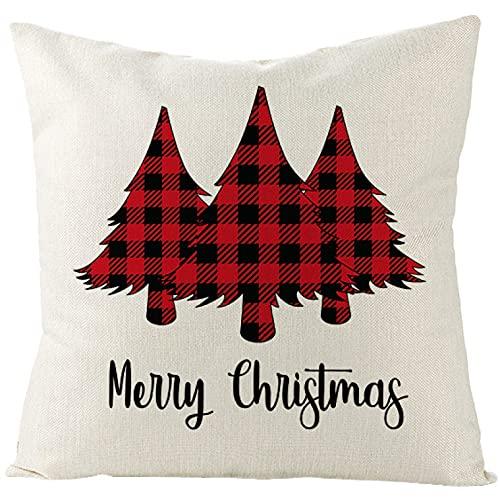 YQMJLF Funda Cojine sofá Decorar Funda Almohada Funda cojín Lino hogar con Decor árbol Navidad Ciervo Invierno Santa 45 * 45 cm Fundas Almohada a Cuadros búfalo Rojo Feliz Navidad