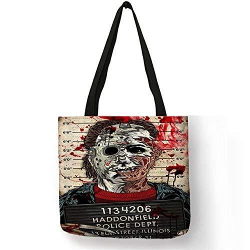 XLJJB Horrorfilm Charaktere Drucken Umhängetasche Frauen Männer Handtaschen Große Kapazität Halloween Morde Chucky Jason Gedruckt Totes 004