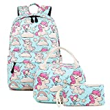 United Unicorns School Backpack - 3 pcs - Set Cute Lightweight Unicorn Backpacks for Girls with Lunch Bag and Pencil Case School Bags Bookbags for Kids (Baby Blue)