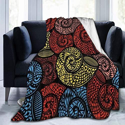 HATESAH Manta de Franela Suave,Hawaiano Azteca Caracol Mano Océano Espiral Dibujado A Mano Conchas De Chile Color Aceite,Cama de Camping para sofá 153x127cm