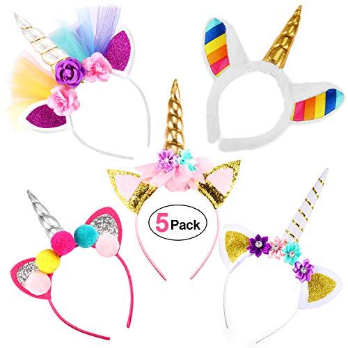 Serre-Tête Licorne avec Fleurs,Bandeau Licorne Fournitures de Fête de Licorne pour Fête d'anniversaire ou Cosplay Costume,Chat Oreilles Fleurs pour la Décoration (5 pcs)