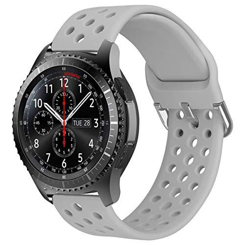 MroTech 22mm Uhrenarmband kompatibel für Samsung Gear S3 Frontier Classic/Galaxy Watch 46mm Armband Silikon Sportband Uhrenarmband Ersatz für Huawei 2 Classic/GT/GT2 46MM Ersatzarmband 22 mm Grau