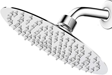 NearMoon High Pressure Shower Head with Shower Arm, High Flow Stainless Steel 8 Inch Rain Showerhead, Ultra-Thin Design, Pres