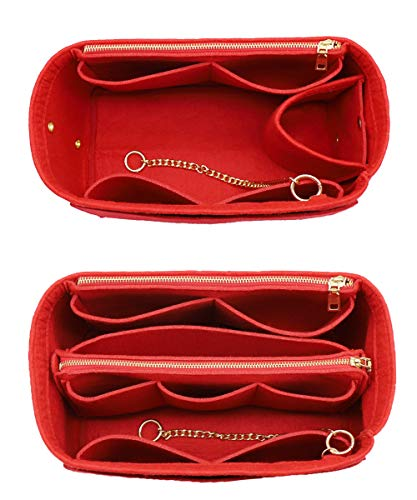 3 in 1 Felt Purse Organizer Insert Bag in Bag with a Bottle Holder Shaper 8026 Red XL