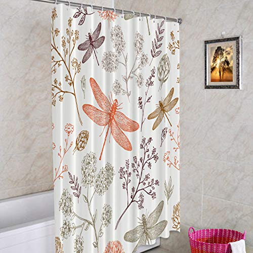 Batmerry Dragonfly Decorative Shower Curtain, Botanical Dragonfly Organic Natural Spring Floral Vintage Abstract Cute Long Wide with Rust Proof Grommets for Bathroom Waterproof Washable