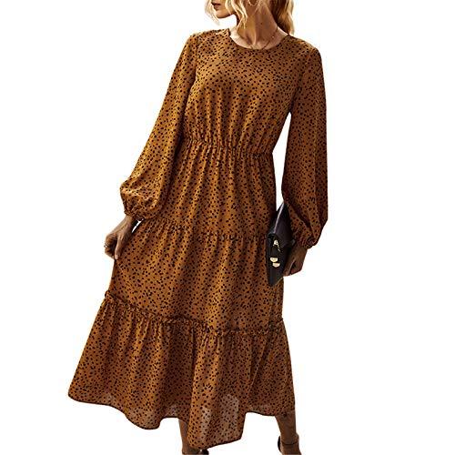 Exlura WomensPolka Dots Dress Lantern SleeveElastic WaistPleated Elegant Flowy Midi Dress Yellow