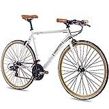 CHRISSON Vélo de course rétro 28' - Vintage Road 3.0 - Blanc - 52 cm - Avec 21 vitesses Shimano Tourney - Urban Old School - Pour homme et femme