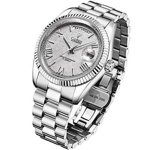 Reloj mecánico CADISEN para Hombre, Reloj automático de Zafiro automático a la Moda, Reloj de Acero Inoxidable para Hombre, Fecha Dorada, Calendario, Reloj (meteorito Gris)