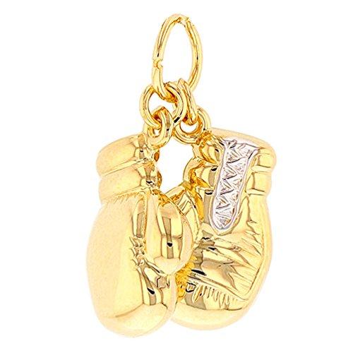 JewelryAmerica High Polish 14k Yellow Gold 3D Boxing Gloves Charm Sports Pendant