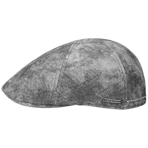 Stetson Texas Gorra de Cuero Hombre - Gorra Plana Estilo Gatsby - Gorra con Forro - Gorra de Cuero Verano/Invierno Gris L (58-59 cm)