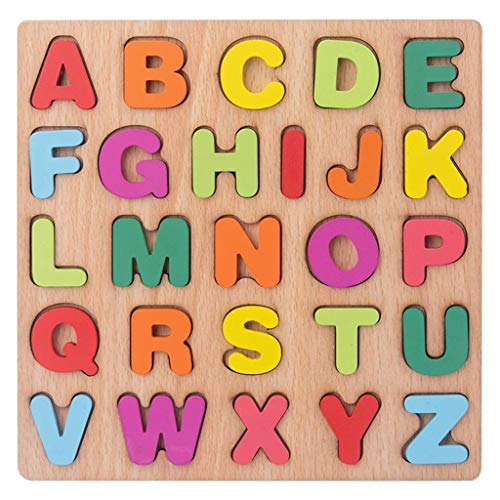 SunniMix Puzzles en Bois pour Les Tout-Petits Grand Alphabet ABC Lettre Majuscule Bois Montessori Learning Éducatifs Jouets pour Garçons Filles d'anniversaire