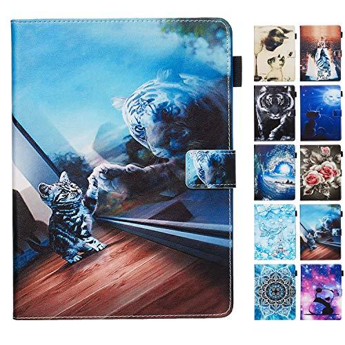 Rose-Otter Handyhülle für Samsung Galaxy Tab A 10.1 (2019) T510 T515 Hülle Tablet Leder PU Flip Case Kartenfach Klappbar Schutzhülle Tasche mit Muster Katze Tiger