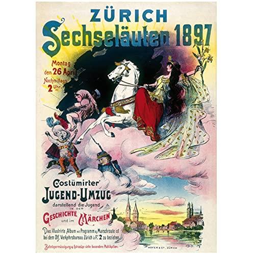 Suiza Zurich Turismo Sechselauten Zurich Pinturas clásicas en lienzo Carteles de pared vintage Decoración para el hogar Regalo 50x70 cm x1 Sin marco