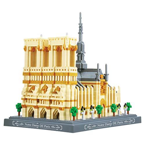 HZYM Architecture Notre Dame de Paris Jeu de Construction, 4018 Pièces Diamond Blocks Micro Nano Bricks France Architecture Modèle Blocs de Construction, Non Compatible avec Lego