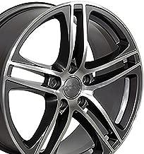 OE Wheels 18 Inch Fits Volkswagen CC Beetle Audi A3 A8 A4 A5 A6 TT R8 Style AU07 18x8 Rims Gunmetal Machined SET