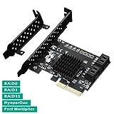 N.ORANIE PCIe 2.0 x 1 to 4ポートSATA III 6Gbps PCIE RAID ホスト コントローラカード HyperDuoサポート SSD階層 IPFS ハードディスク ポートマルチプライヤー Marvell 88SE9230 チップセット