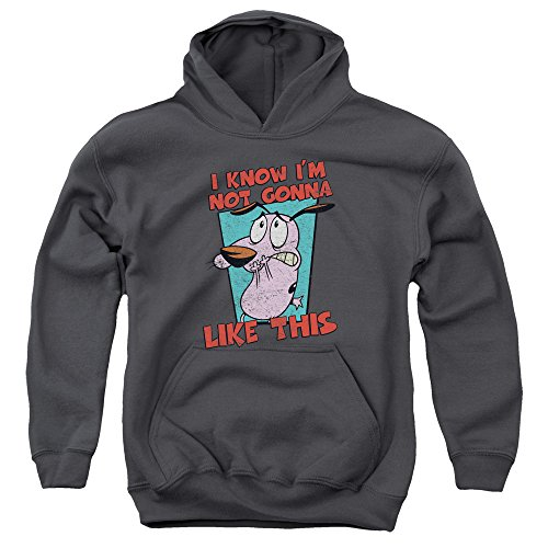 Trevco Courage The Cowardly Dog-Not Gonna Like - Youth Pull-Over Hoodie - Charcoal44; Extra Large