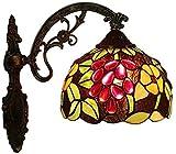 MISLD Applique Tiffany Grape Paralume in Vetro Soggiorno Camera da Letto Lampadario Diametro Cm Rustico Lampade da in Applique Metallo V, Parete per Interni Lodge 20 Cm 100-240 V, E