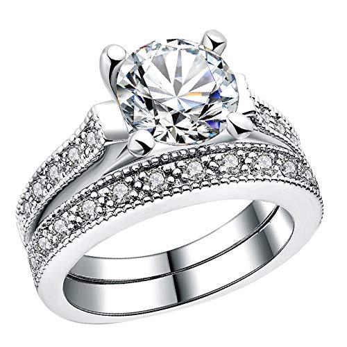 TOOGOO Zweireihig AAA Kubikzircon Verlobungsring für Frauen Cz Kristall Hochzeit Ringe Femme Schmuck Z3-8