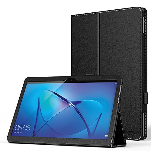 MoKo Huawei MediaPad T3 10 Hülle - PU Leder Ständer Tasche Schutzhülle Schale Smart Hülle mit Stift-Schleife & Standfunktion für Huawei MediaPad T3 10 24,3 cm (9.6 Zoll) Tablet-PC, Schwarz