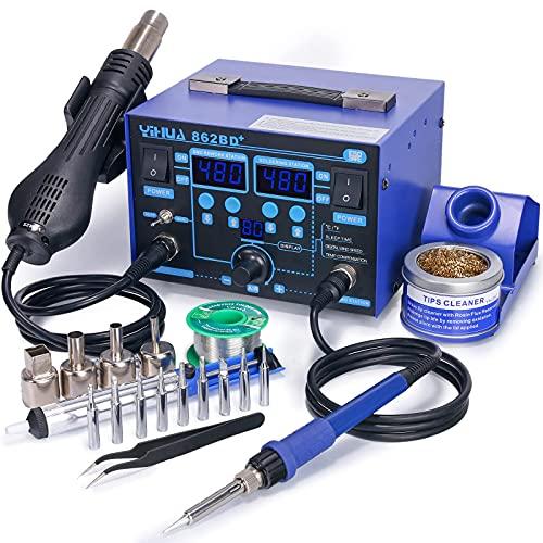 YIHUA 862BD+ - Estación de retoque de aire caliente SMD 2 en 1 con función de estabilización de temperatura para electrónica, proyectos de bricolaje, retoques, reparaciones