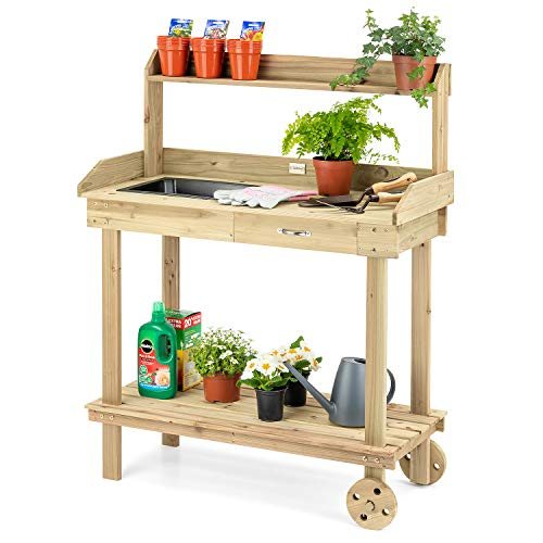 CHRISTOW Potting Table Bench With Wheels & Tray, Wooden Outdoor Garden Table For Potting Plants, Drawer & Shelves, H120cm x W90cm x D42cm