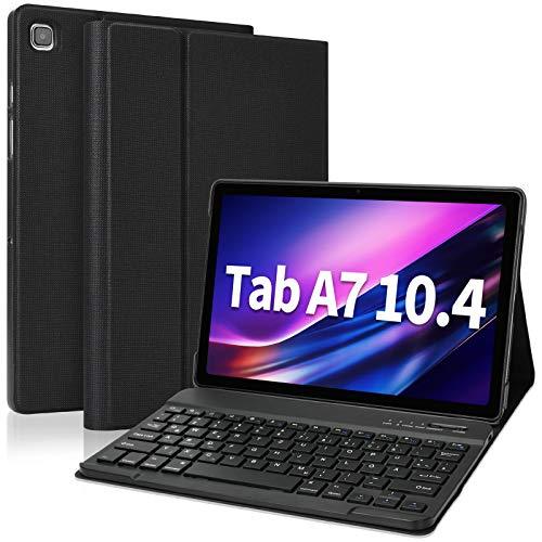 Bluetooth Tastatur Hülle für Samsung Galaxy Tab A7, drahtlose abnehmbare Tastatur (Deutsches QWERTZ) mit Abdeckung Auto Wake/Sleep für Samsung Galaxy Tab A7 10,4 Zoll T505 / T500 / T507 (Schwarz)