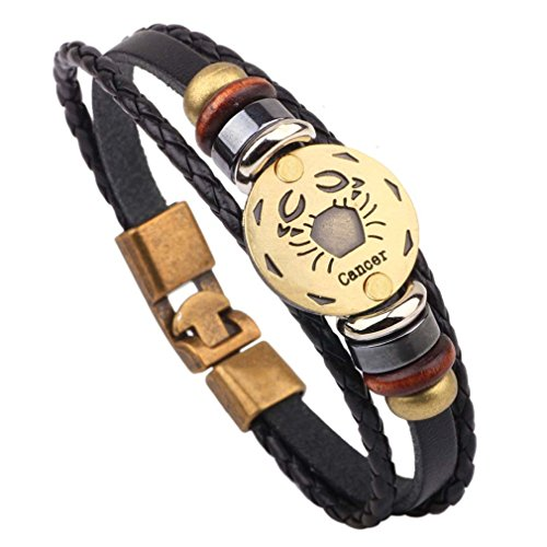 Damen Herren Sternzeichen Armband Vintage Lederarmband Surferarmband Armreif Leder Geflochten Seil mit Perlen Sternbild (Krebs)