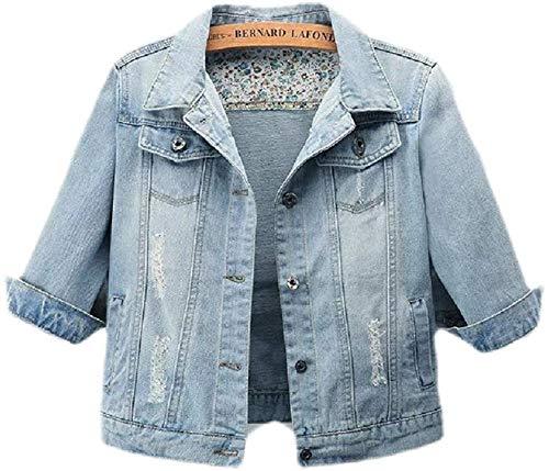 beauty magic Women 3/4 Sleeve Plus Size Jean Distressed Short Crop Jacket Coat,Light Blue,Small