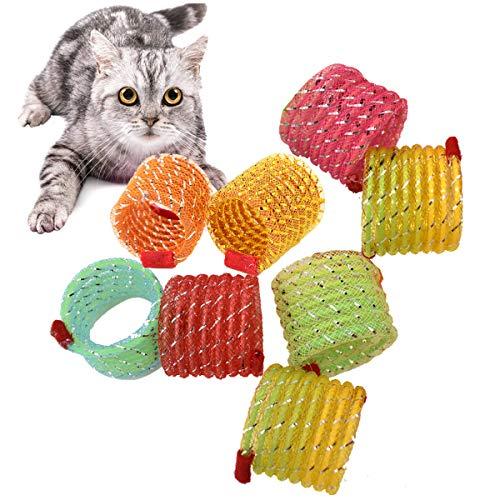 Liwein Juguete de Resorte de Gato Resortes Espirales de Bobina Plástico Muelles en Espiral Colorido Juguetes Interactivos para Gatos Gatito Perros Mascotas Novedad Regalo (8 Piezas)