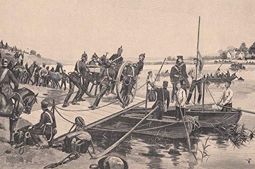 Militaria - Flußübergang von reitender Artillerie mittels Falt- und gewöhnlichen Booten. [Grafik]