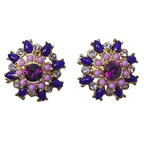 Multi Color Rhinestone & Resin Dot Flower Gold Tone Boutique Style Post Stud Earrings (Purple & Lavender)