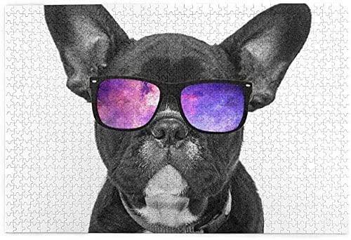 DGSJH Perro Lindo con Gafas de Sol Imprimir 1000 Piezas deRompecabezas educativos paraAdultosJuegos Juegos para Padres e Hijos Juguetes38x26cm