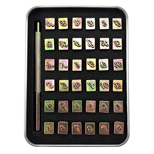 FLAMEER Juego de 36 sellos de letras y números, juego de sellos de Metal y acero de aleación, juego de número y perforadores de letras en una caja de madera