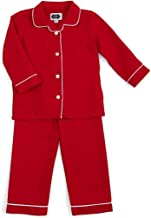 Mud Pie Unisex Baby Red Two-Piece Flannel Pajamas Red with White Piping Trim