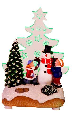 Star - Decorazione Natalizia A LED, Motivo Babbo Natale Con Bambini, LED Verde, Misure Approssimative 14 X 8 Cm, Funzionamento A Batteria, Confezione 4 Colori