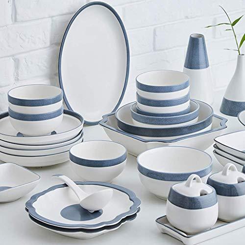 ZJZ Juego de vajilla, Juego de vajilla de cerámica de 46 Piezas, Cuenco, Plato, Juego de combinación de Porcelana de Cuchara