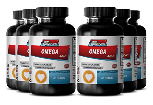 Omega 3 and Omega 6 Fatty Acids - Omega 8060 - Promote Heart Health with Natural Fish Oil Supplement (6 Bottles, 360 Softgels)