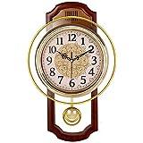 NgFTG Europäische Vintage Pendeluhr, Leise Schaukel Funk-wanduhr,Wohnzimmer Ohne Ticken Qualität-Quarz Uhr Wohnkultur-a 40cm(16')