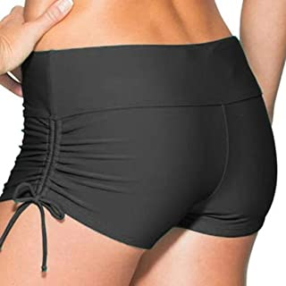 Classical Women's Swim Boardshorts Beach Bikini Bottoms with Adjustable Ties 7 Color XS-XXL