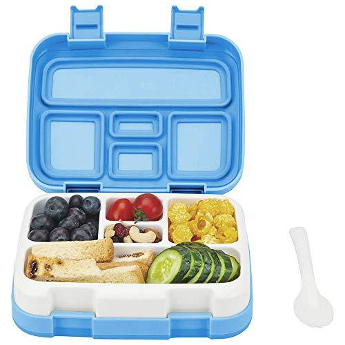 Bento Box ♻ Essen Box Schule Box für kinder mit Multifunktionslöffel BPA 100% frei Vesperdose Brotdose nur ihnen teile Spülmaschinengeeignet und Mikrowellengeeignet (Blau)