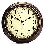 Bekith - Reloj de pared redondo, de estilo clásico retro, de cuarzo, reloj decorativo sin tictac, 30,5 cm