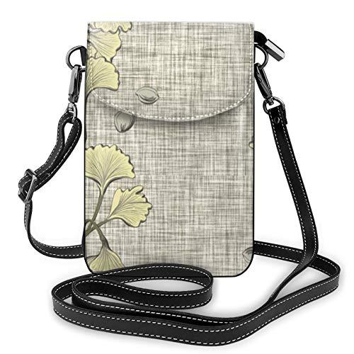 Ginkgo Spa - Bolso bandolera de piel para teléfono móvil, ligero, para mujer, para viajes de compras