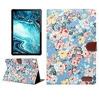 タブレットPCカバーケース 花柄布表面水平フリップPC ホルダーとカードスロットとスリープ/ウェイクアップ機能付きPUレザーケース (色 : Blue)