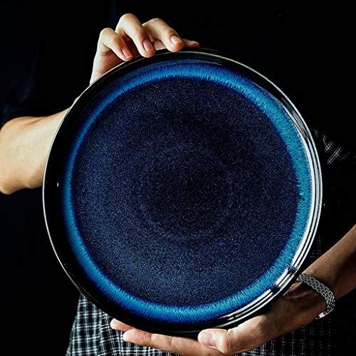 GJH-PLATE Restaurant-Frühstücks-Pasta-Teller, keramische Kuchen-Teller-Fondueteller (Größe : 20x20cm)
