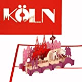 3D Pop Up Karte'City Card Köln - Kölner Dom & Kölner Skyline', Reisegutschein & Städtetrip Köln, Souvenir 3D Postkarte & Fanartikel
